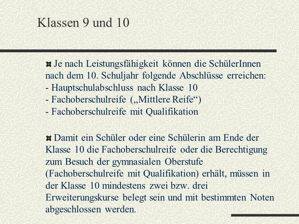 Klassen 9 und 10