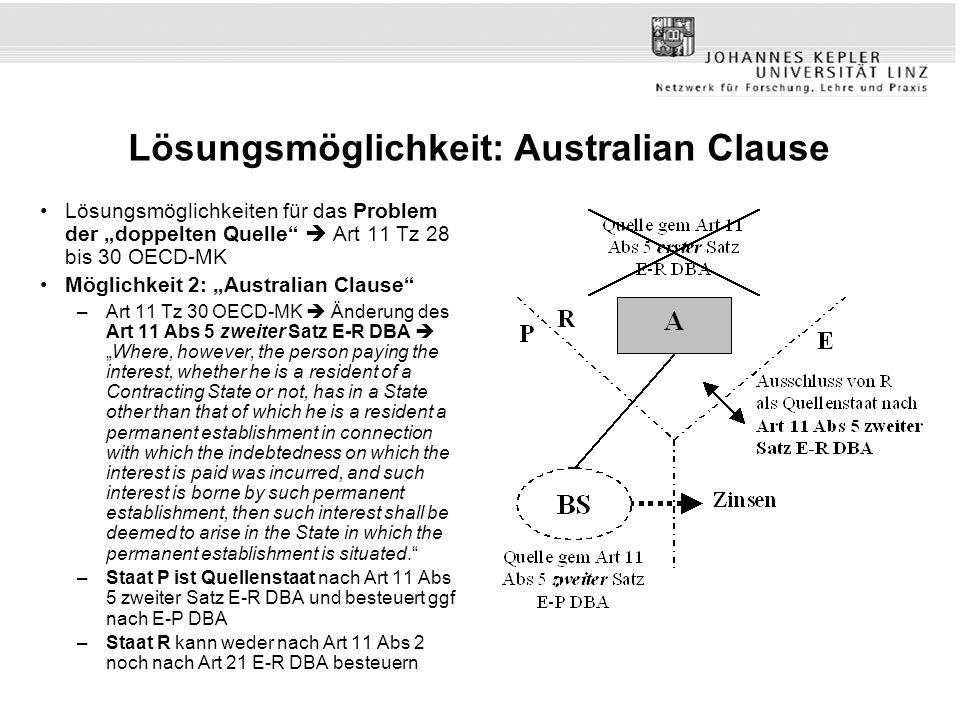 Lösungsmöglichkeit: Australian Clause