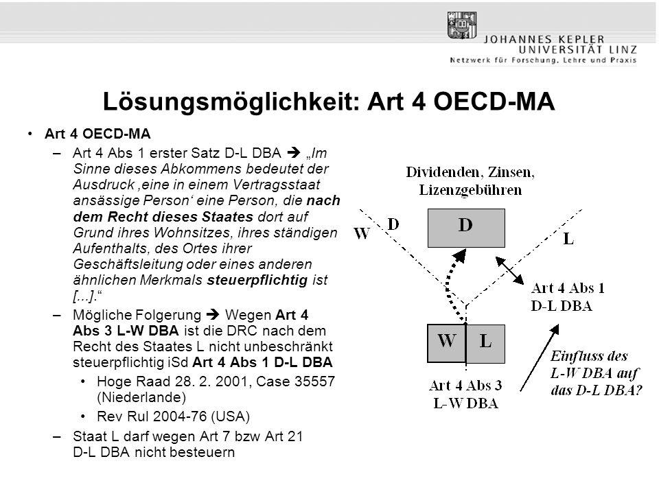 Lösungsmöglichkeit: Art 4 OECD-MA