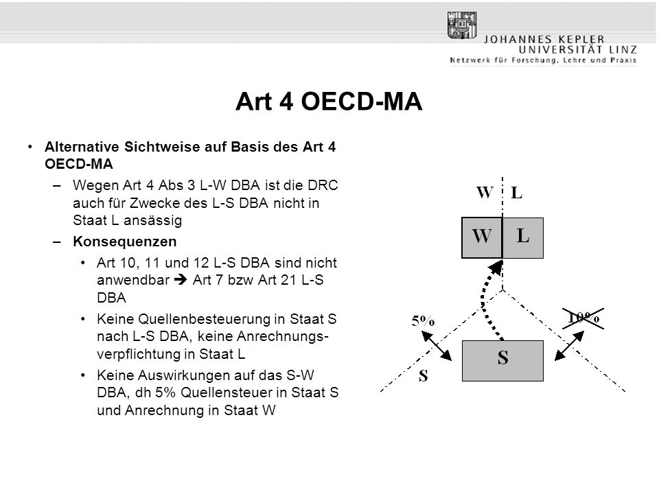 Art 4 OECD-MA Alternative Sichtweise auf Basis des Art 4 OECD-MA