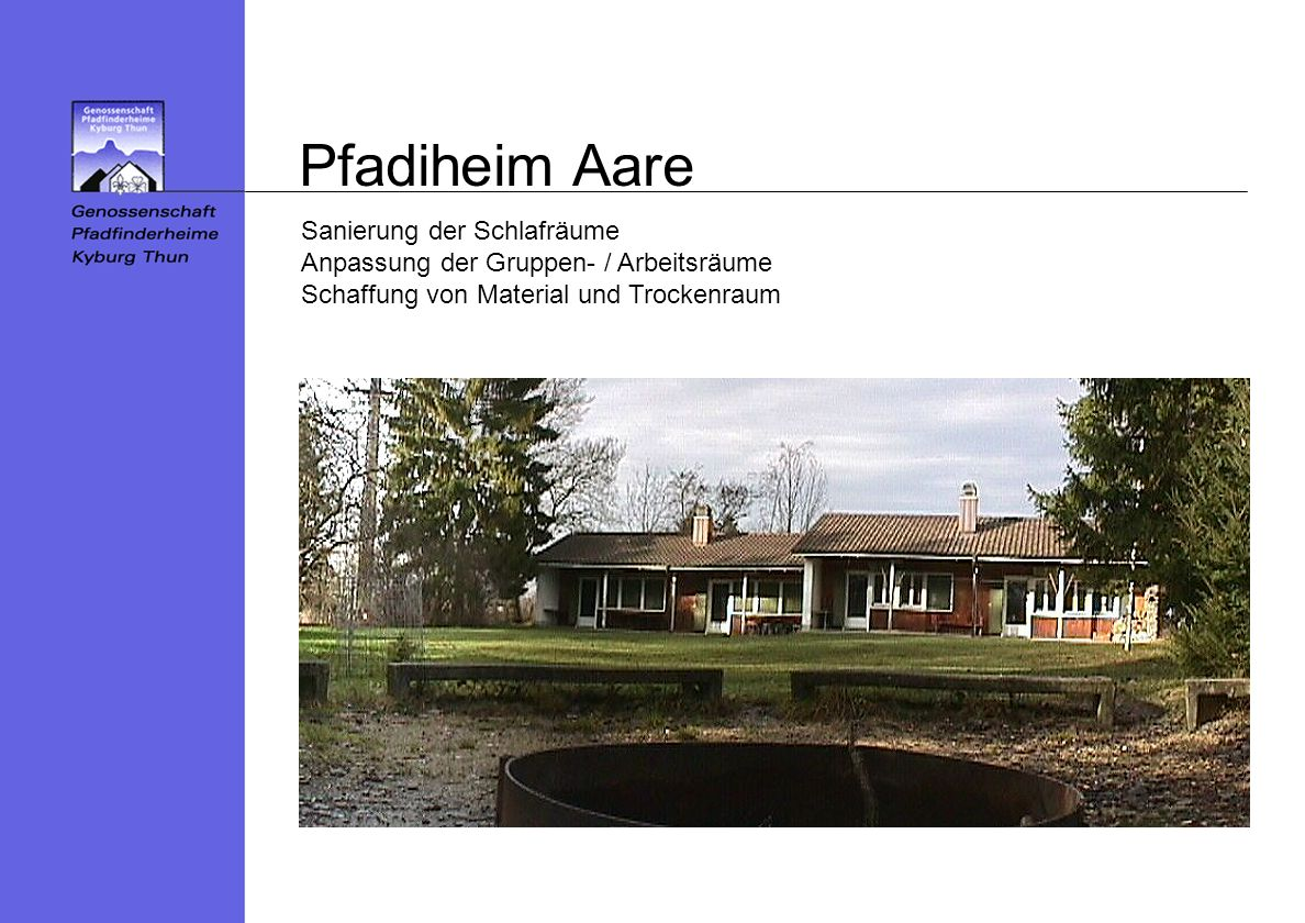 Pfadiheim Aare Sanierung der Schlafräume Anpassung der Gruppen- / Arbeitsräume Schaffung von Material und Trockenraum.