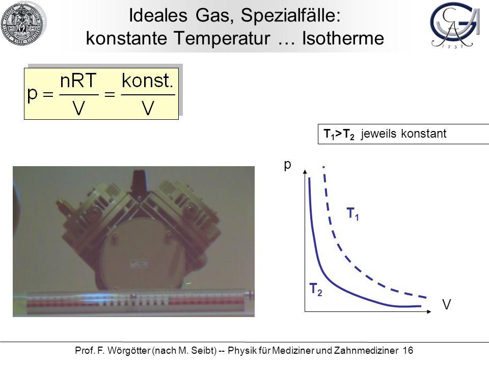 Ideales Gas, Spezialfälle: konstante Temperatur … Isotherme