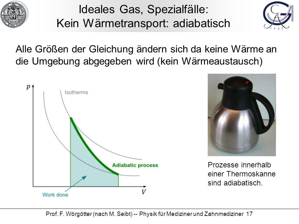 Ideales Gas, Spezialfälle: Kein Wärmetransport: adiabatisch