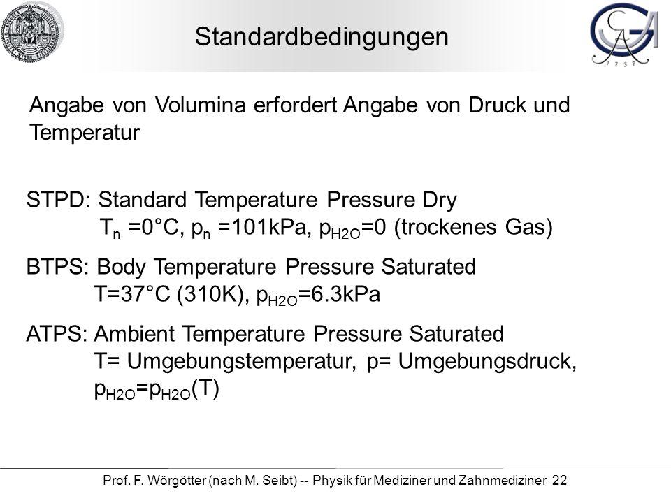 Standardbedingungen Angabe von Volumina erfordert Angabe von Druck und Temperatur.