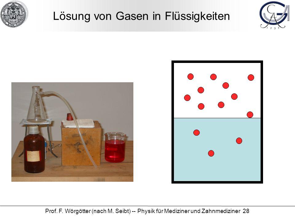 Lösung von Gasen in Flüssigkeiten
