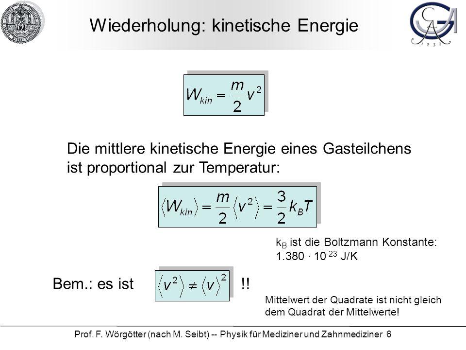 Wiederholung: kinetische Energie