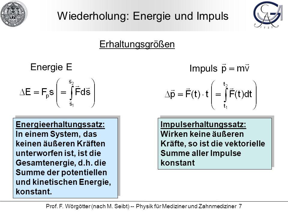Wiederholung: Energie und Impuls
