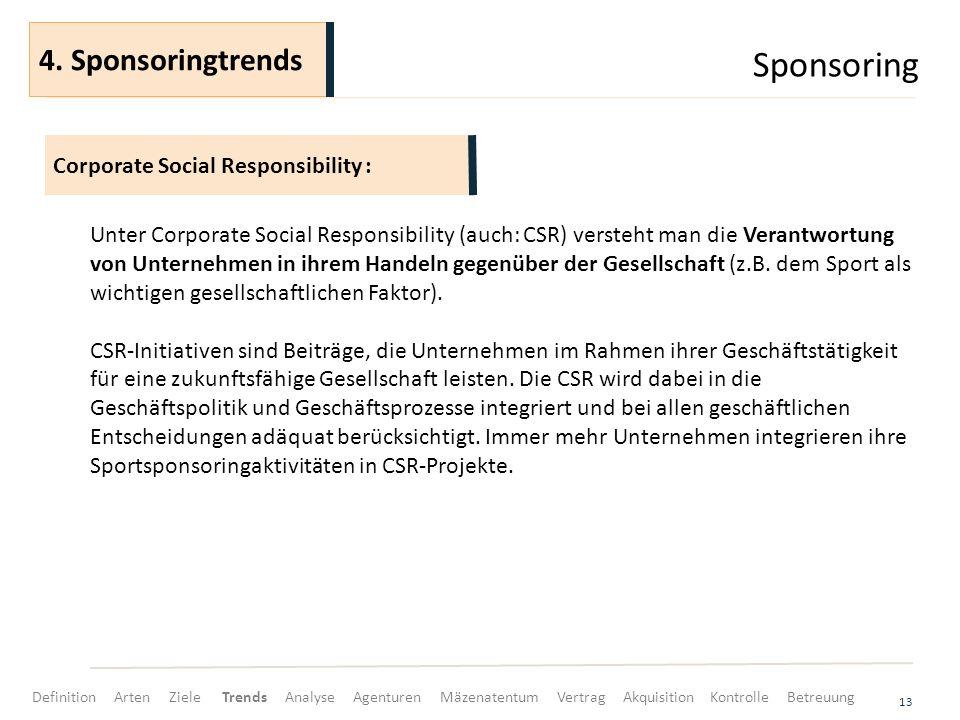 Sponsoring 4. Sponsoringtrends Corporate Social Responsibility :