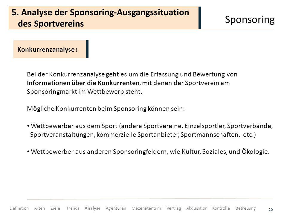 Sponsoring 5. Analyse der Sponsoring-Ausgangssituation