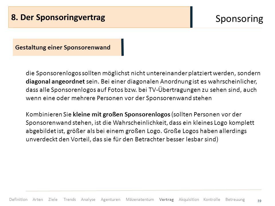 Sponsoring 8. Der Sponsoringvertrag Gestaltung einer Sponsorenwand