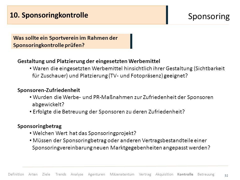 Sponsoring 10. Sponsoringkontrolle