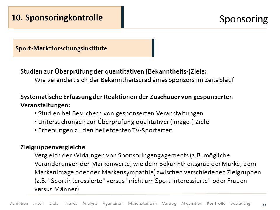 Sponsoring 10. Sponsoringkontrolle Sport-Marktforschungsinstitute