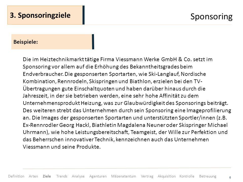 Sponsoring 3. Sponsoringziele Beispiele: