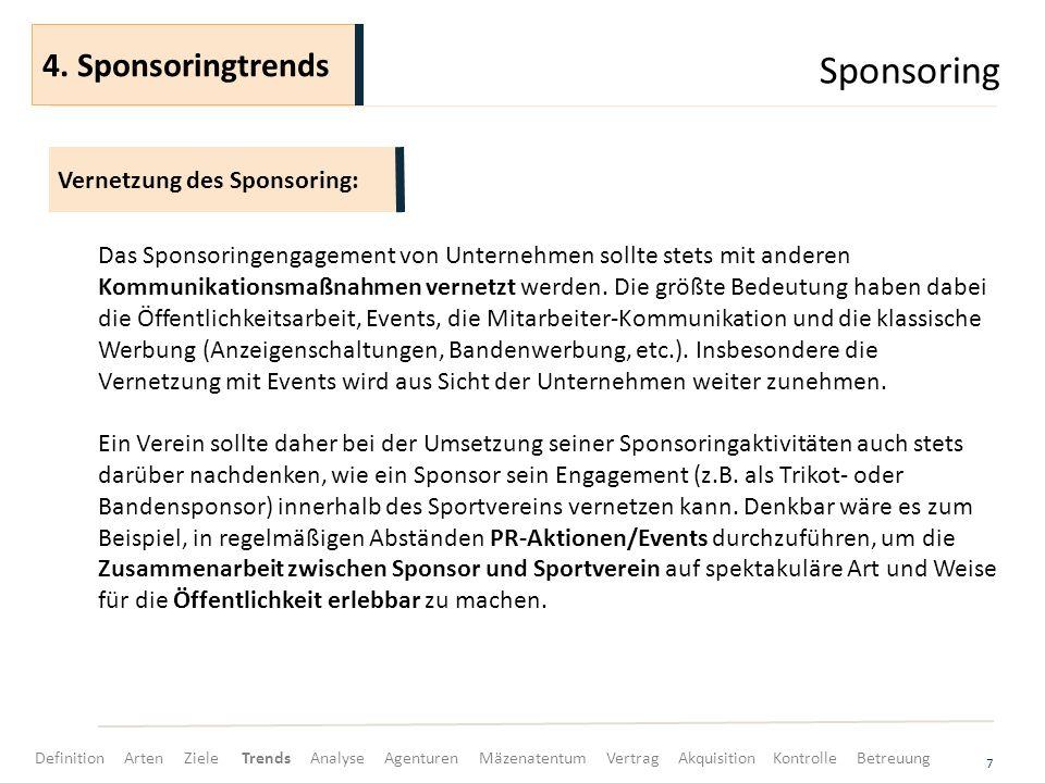 Sponsoring 4. Sponsoringtrends Vernetzung des Sponsoring:
