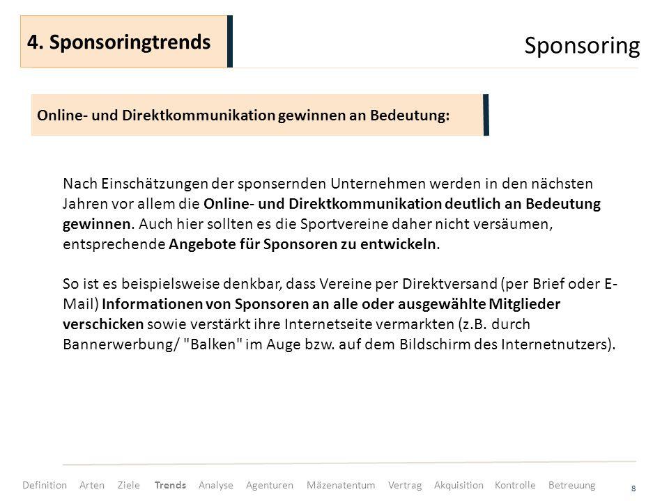 Sponsoring 4. Sponsoringtrends