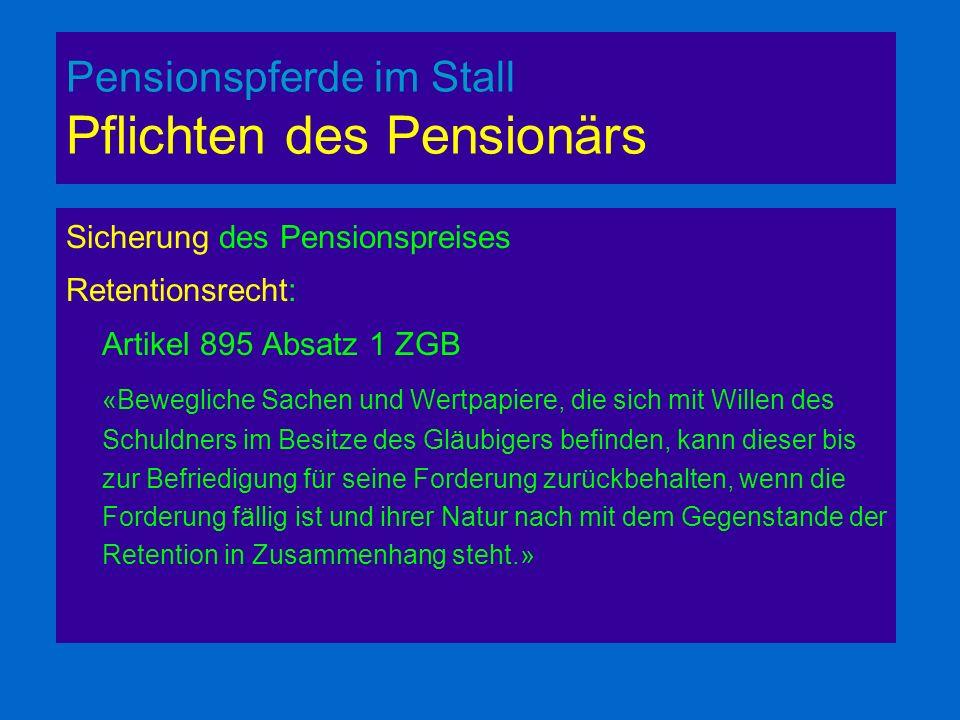 Pensionspferde im Stall Pflichten des Pensionärs