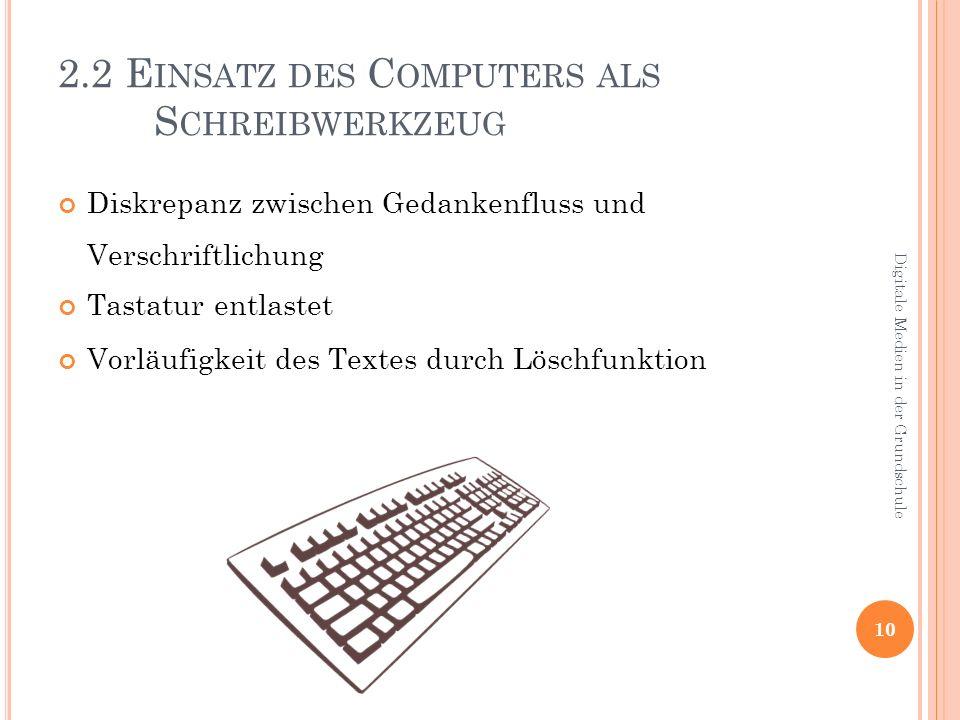 2.2 Einsatz des Computers als Schreibwerkzeug
