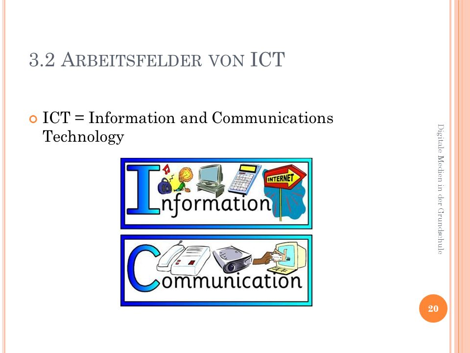 3.2 Arbeitsfelder von ICT ICT = Information and Communications Technology.
