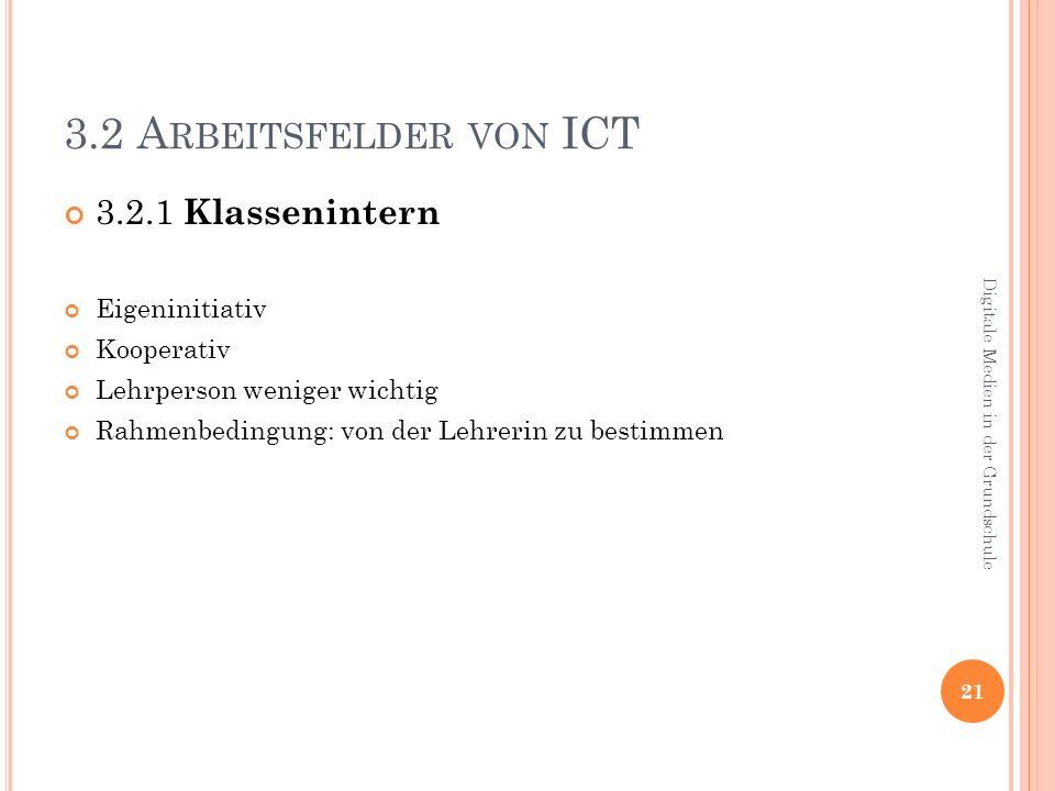 3.2 Arbeitsfelder von ICT 3.2.1 Klassenintern Eigeninitiativ