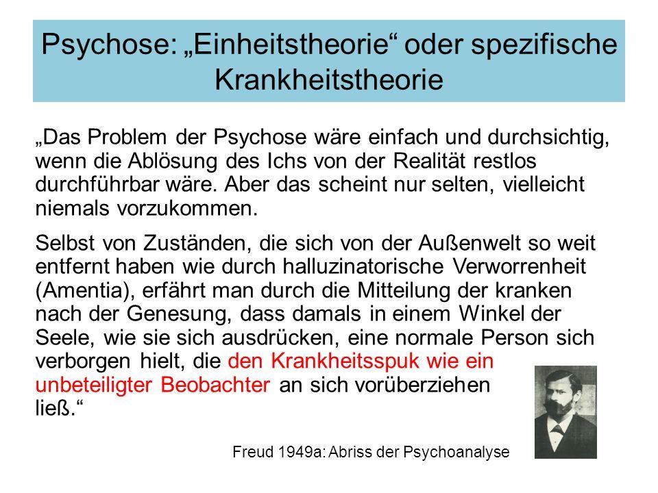 """Psychose: """"Einheitstheorie oder spezifische Krankheitstheorie"""