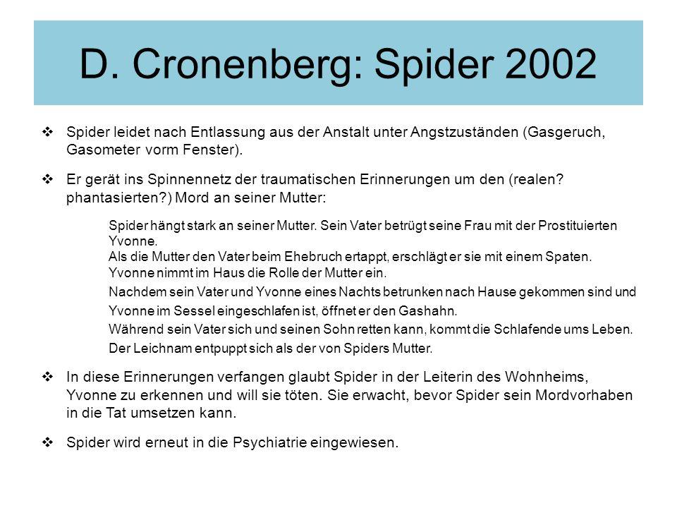 D. Cronenberg: Spider 2002 Spider leidet nach Entlassung aus der Anstalt unter Angstzuständen (Gasgeruch, Gasometer vorm Fenster).