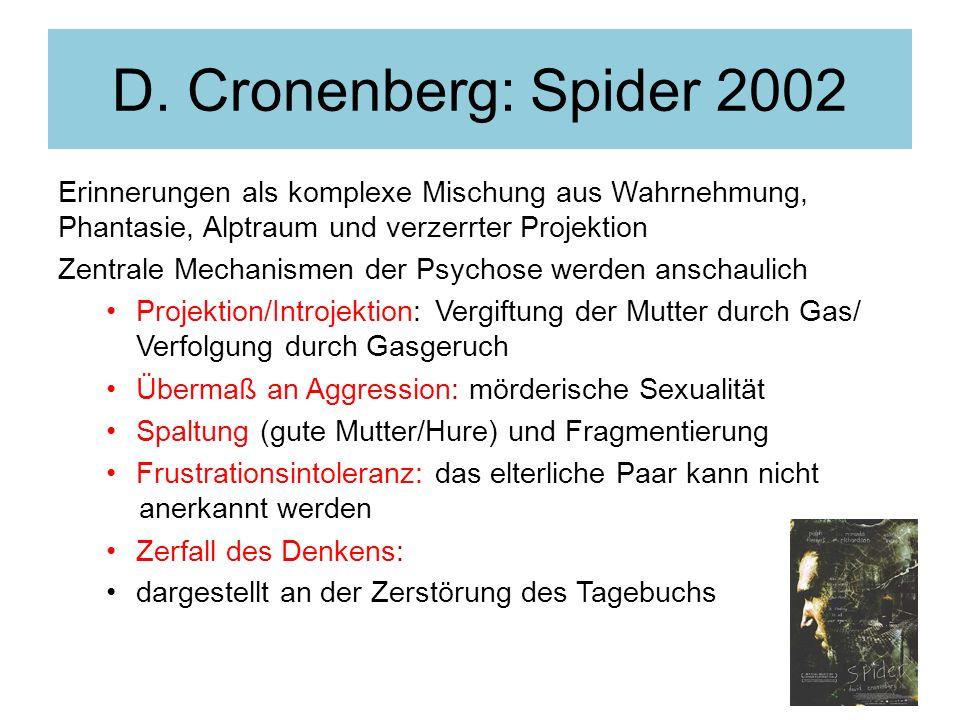 D. Cronenberg: Spider 2002 Erinnerungen als komplexe Mischung aus Wahrnehmung, Phantasie, Alptraum und verzerrter Projektion.