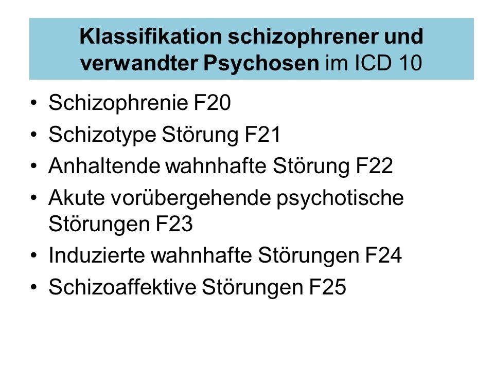 Klassifikation schizophrener und verwandter Psychosen im ICD 10