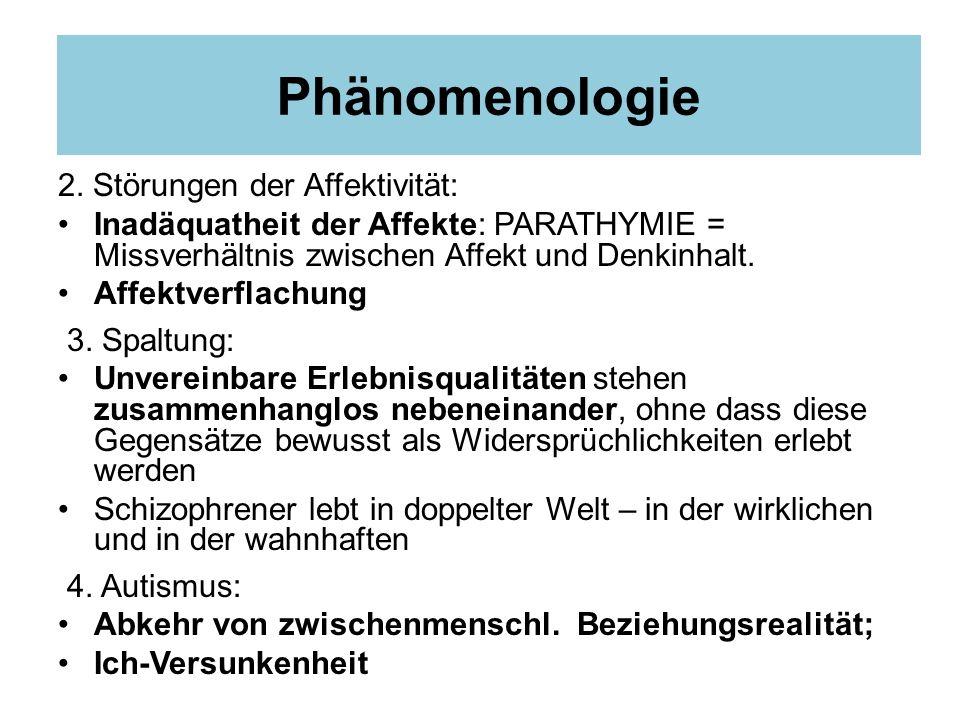 Phänomenologie 2. Störungen der Affektivität: