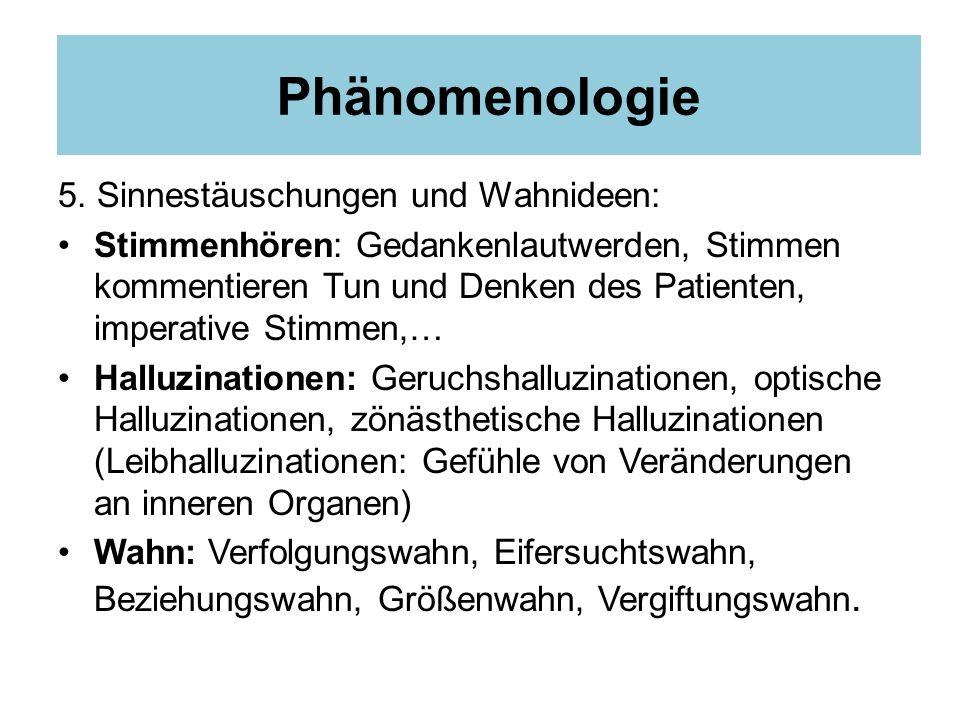 Phänomenologie 5. Sinnestäuschungen und Wahnideen: