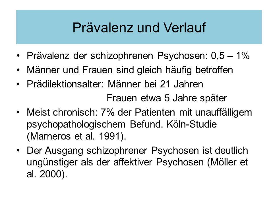 Prävalenz und Verlauf Prävalenz der schizophrenen Psychosen: 0,5 – 1%
