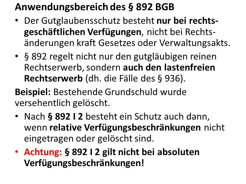 Anwendungsbereich des § 892 BGB