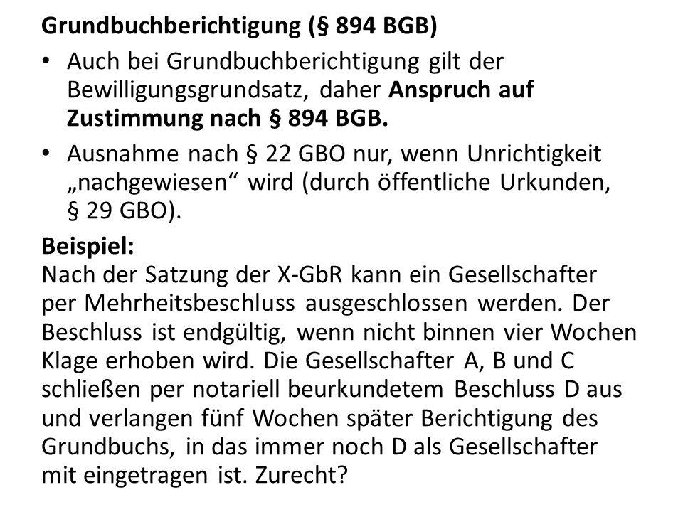 Grundbuchberichtigung (§ 894 BGB)