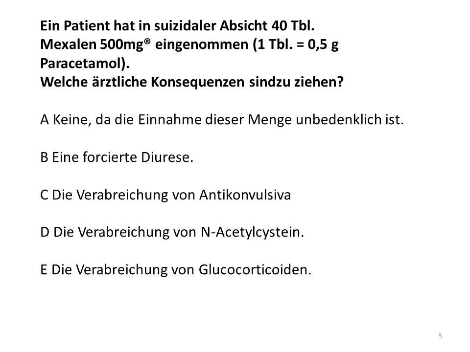Ein Patient hat in suizidaler Absicht 40 Tbl