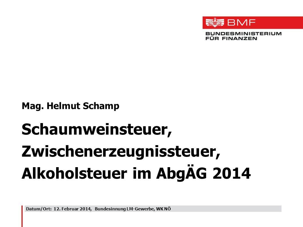 Zwischenerzeugnissteuer, Alkoholsteuer im AbgÄG 2014