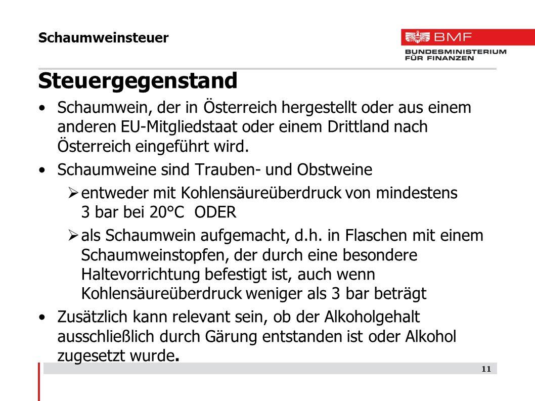 Schaumweinsteuer Steuergegenstand.