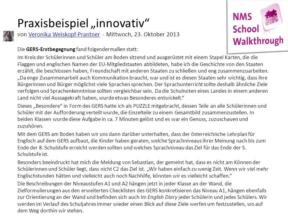 """Praxisbeispiel """"innovativ von Veronika Weiskopf-Prantner - Mittwoch, 23. Oktober 2013"""