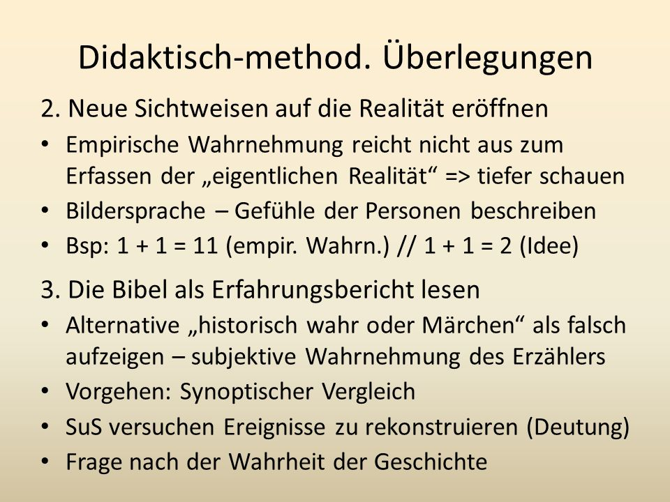 Didaktisch-method. Überlegungen