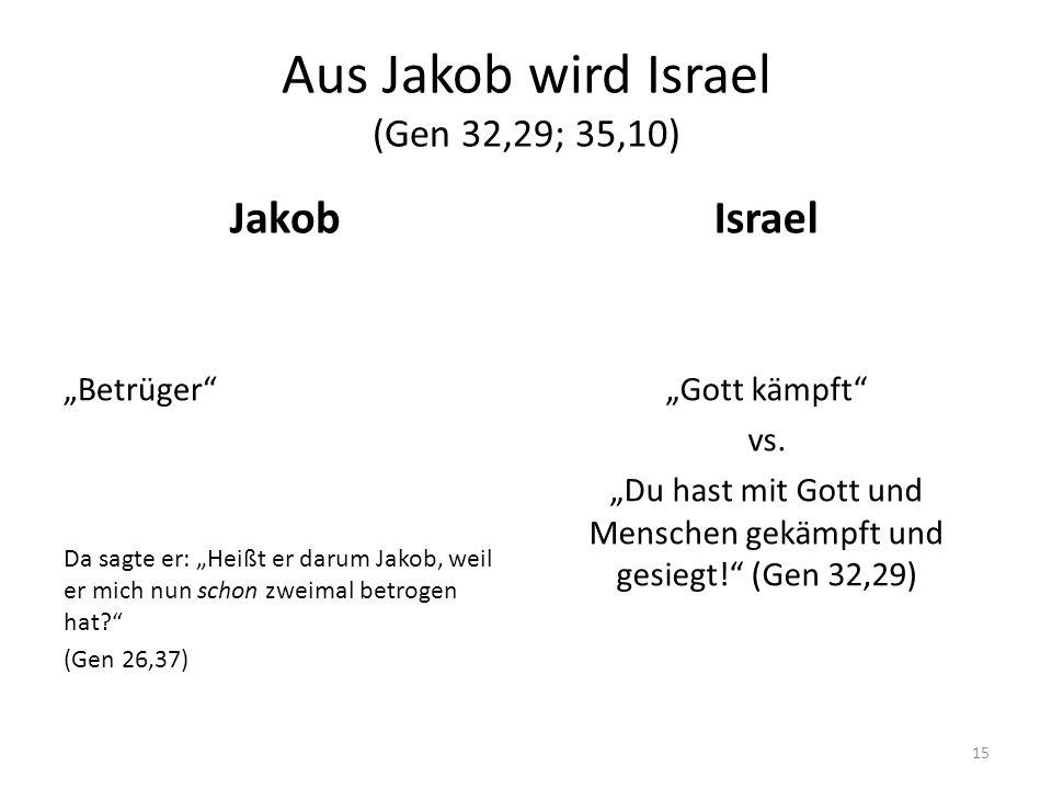 Aus Jakob wird Israel (Gen 32,29; 35,10)