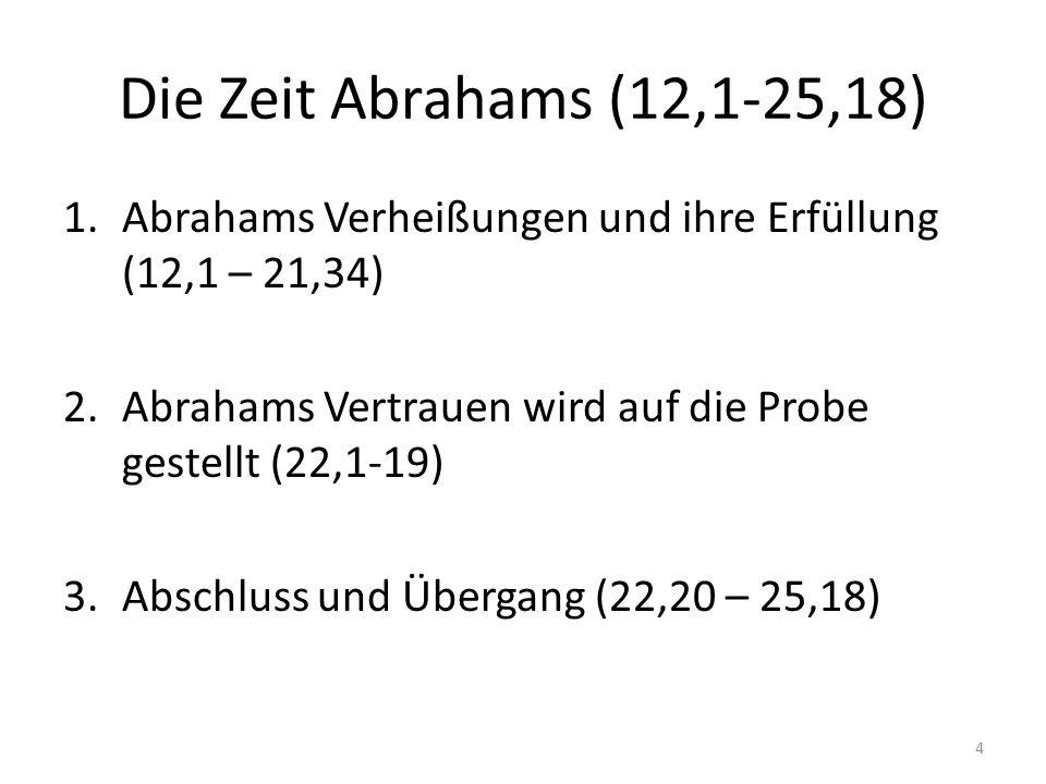 Die Zeit Abrahams (12,1-25,18) Abrahams Verheißungen und ihre Erfüllung (12,1 – 21,34) Abrahams Vertrauen wird auf die Probe gestellt (22,1-19)