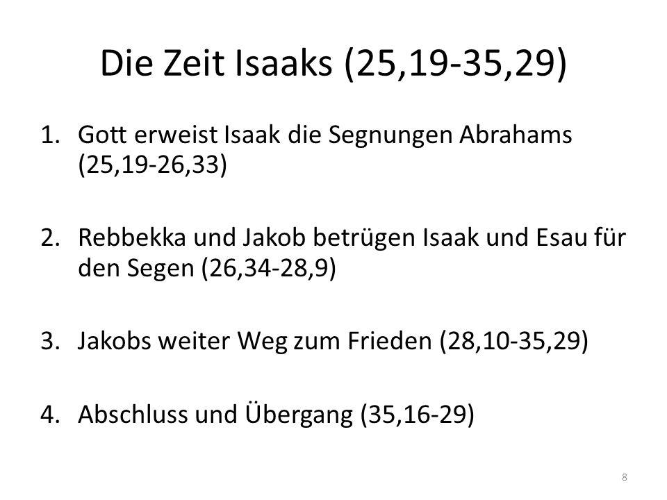 Die Zeit Isaaks (25,19-35,29) Gott erweist Isaak die Segnungen Abrahams (25,19-26,33)