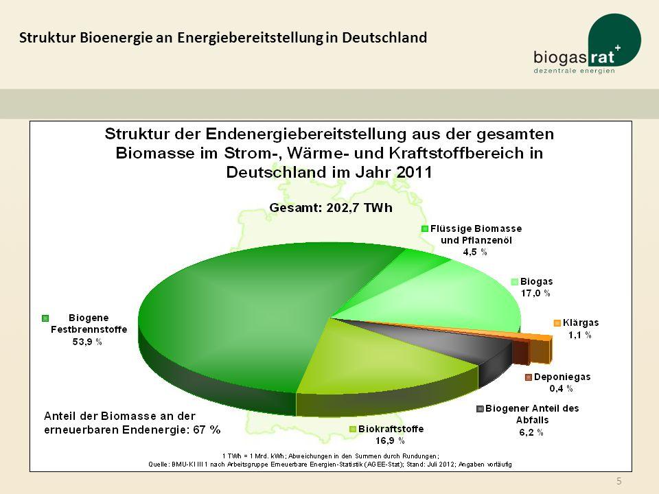 Struktur Bioenergie an Energiebereitstellung in Deutschland