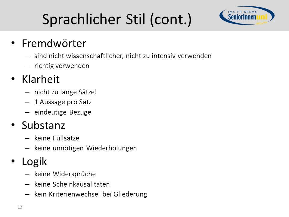 Sprachlicher Stil (cont.)