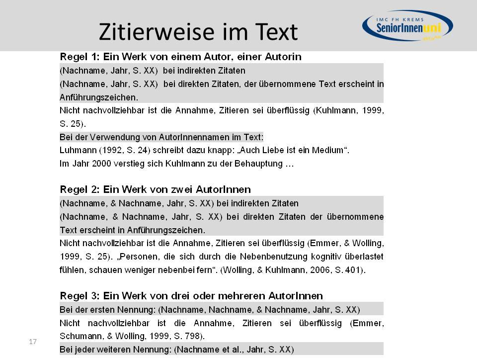 Zitierweise im Text