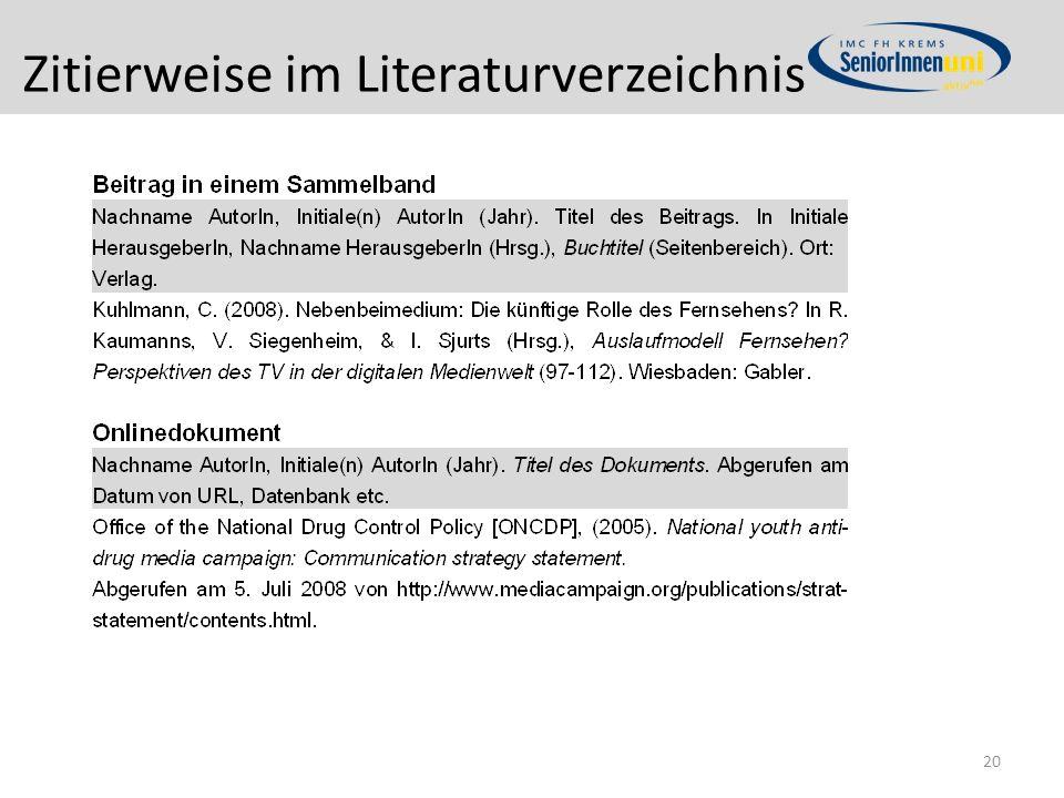 Zitierweise im Literaturverzeichnis
