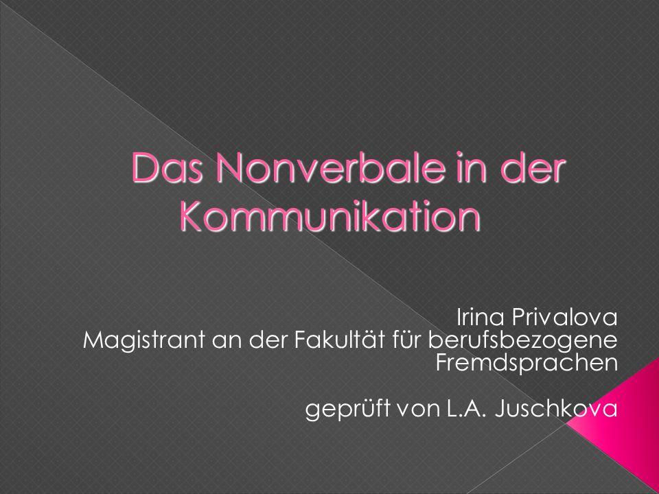 Das Nonverbale in der Kommunikation