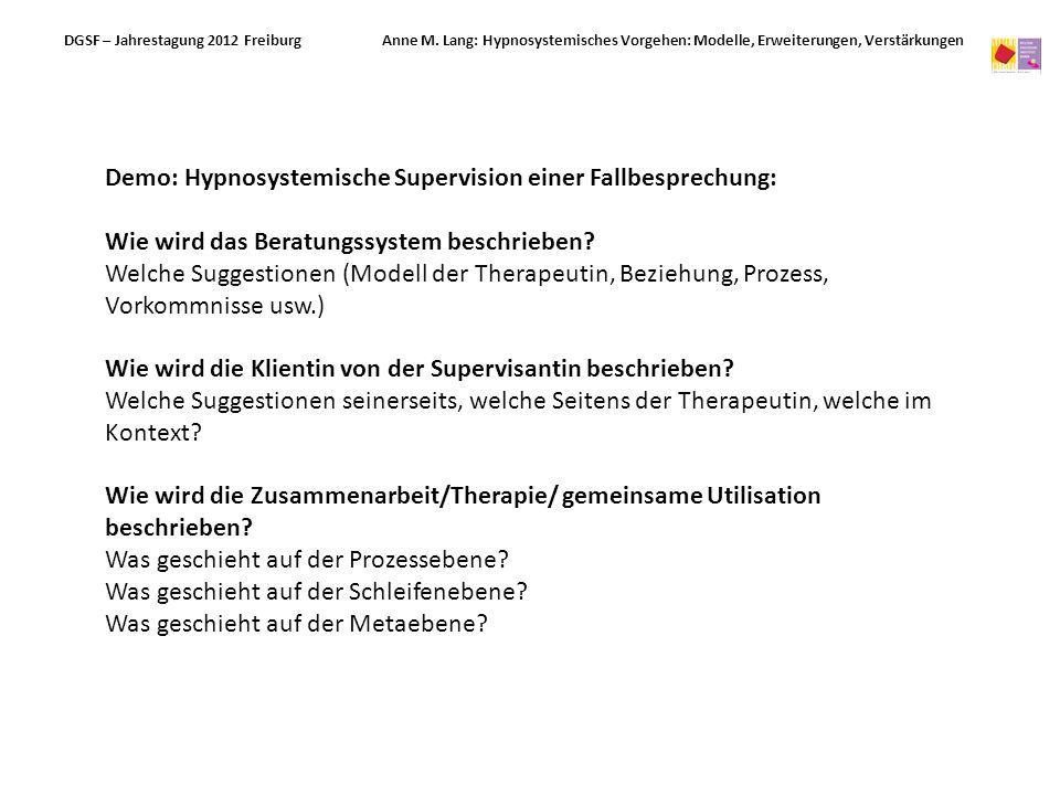 Demo: Hypnosystemische Supervision einer Fallbesprechung: