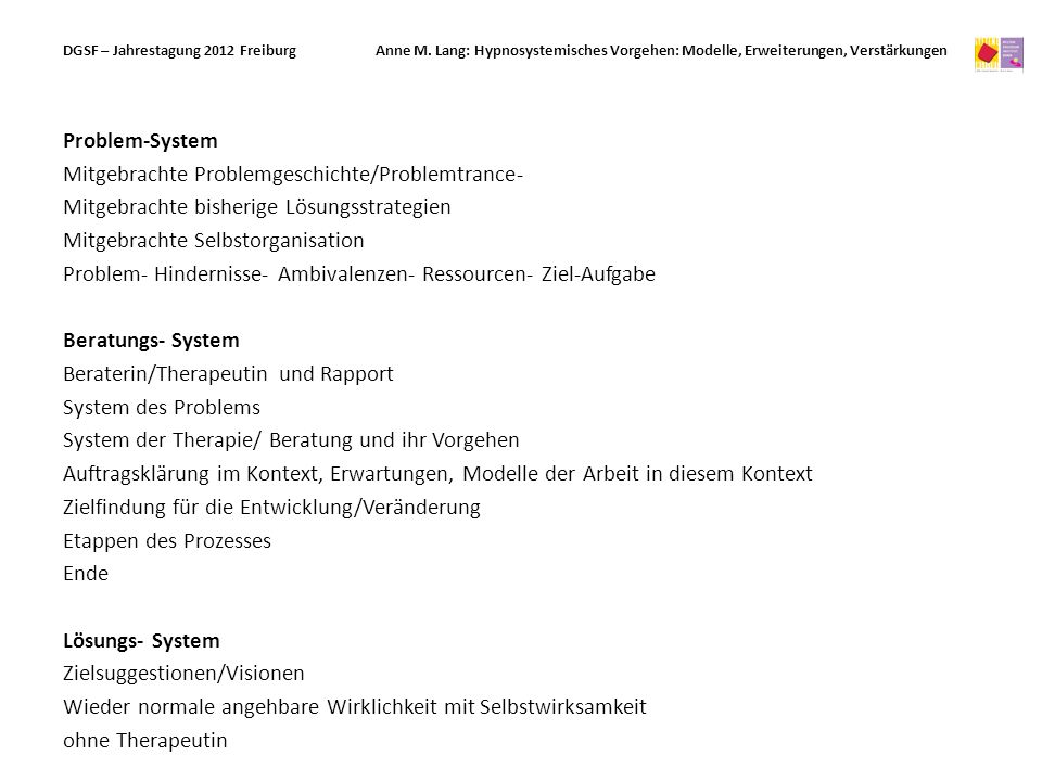 DGSF – Jahrestagung 2012 Freiburg. Anne M