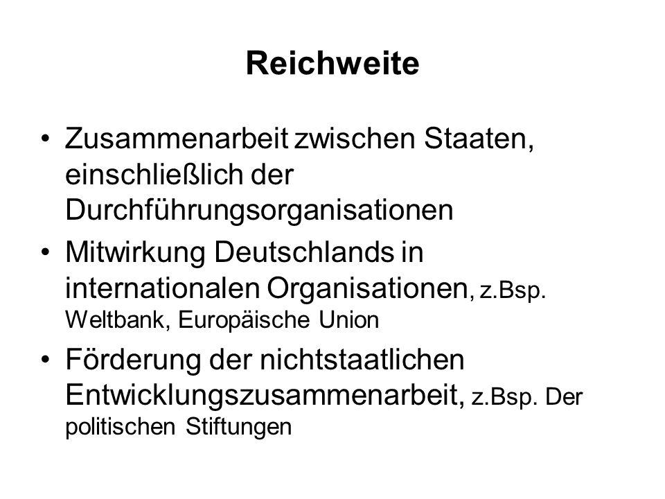Reichweite Zusammenarbeit zwischen Staaten, einschließlich der Durchführungsorganisationen.