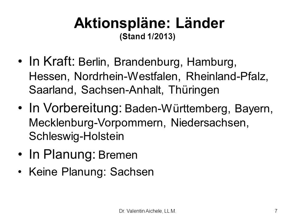 Aktionspläne: Länder (Stand 1/2013)