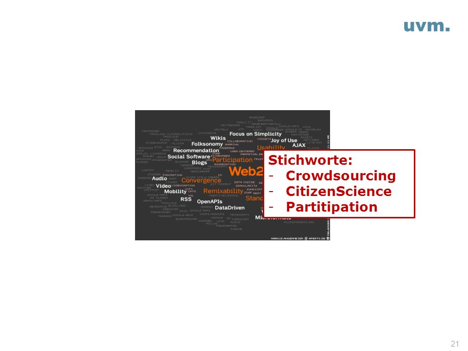 uvm. Stichworte: Crowdsourcing CitizenScience Partitipation